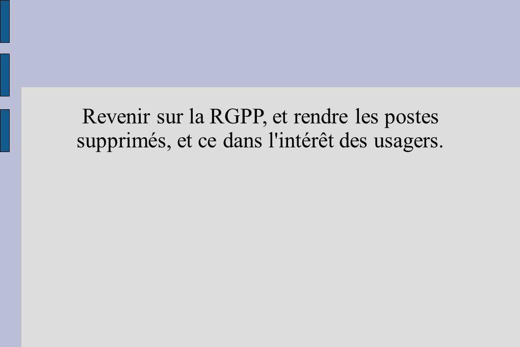 Revenir sur la RGPP, et rendre les postes supprimés, et ce dans l'intérêt des usagers.