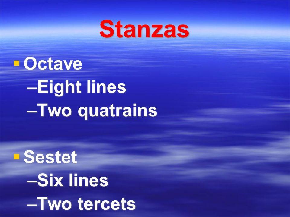 Stanzas Octave –Eight lines –Two quatrains Sestet –Six lines –Two tercets Octave –Eight lines –Two quatrains Sestet –Six lines –Two tercets