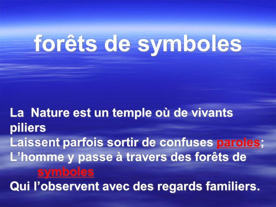 forêts de symboles La Nature est un temple où de vivants piliers Laissent parfois sortir de confuses paroles; Lhomme y passe à travers des forêts de s