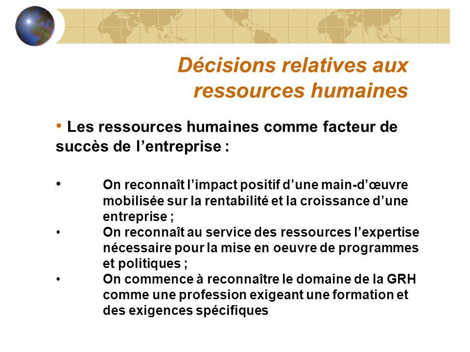 Décisions relatives aux ressources humaines Les ressources humaines comme facteur de succès de lentreprise : On reconnaît limpact positif dune main-dœ