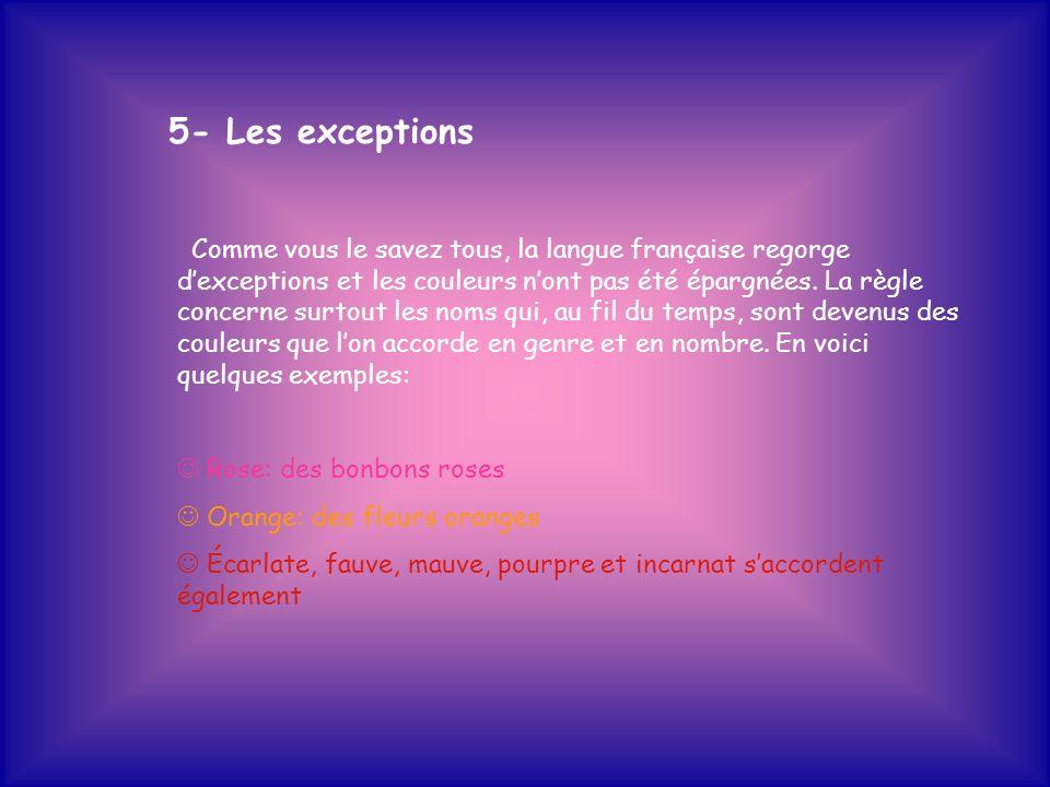 5- Les exceptions Comme vous le savez tous, la langue française regorge dexceptions et les couleurs nont pas été épargnées. La règle concerne surtout