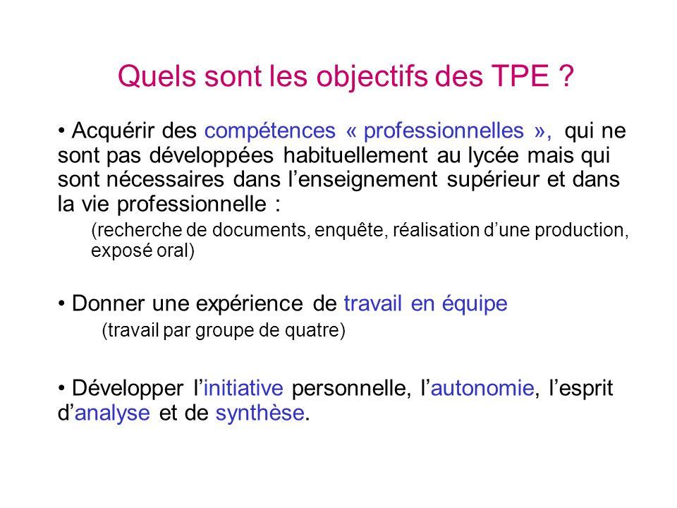 Quels sont les objectifs des TPE ? Acquérir des compétences « professionnelles », qui ne sont pas développées habituellement au lycée mais qui sont né