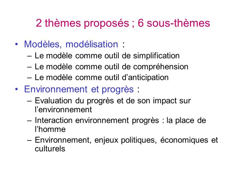 2 thèmes proposés ; 6 sous-thèmes Modèles, modélisation : –Le modèle comme outil de simplification –Le modèle comme outil de compréhension –Le modèle