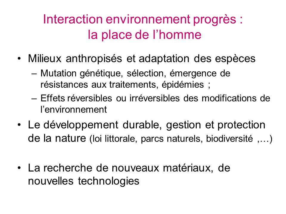 Interaction environnement progrès : la place de lhomme Milieux anthropisés et adaptation des espèces –Mutation génétique, sélection, émergence de rési