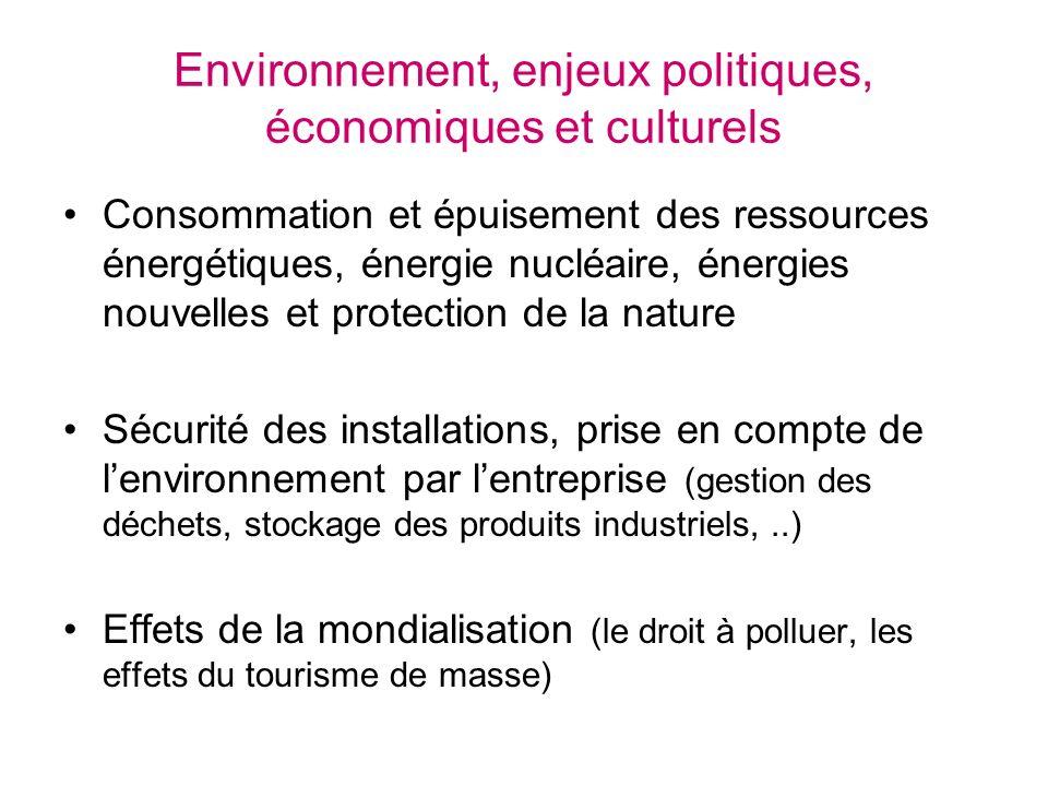 Environnement, enjeux politiques, économiques et culturels Consommation et épuisement des ressources énergétiques, énergie nucléaire, énergies nouvell