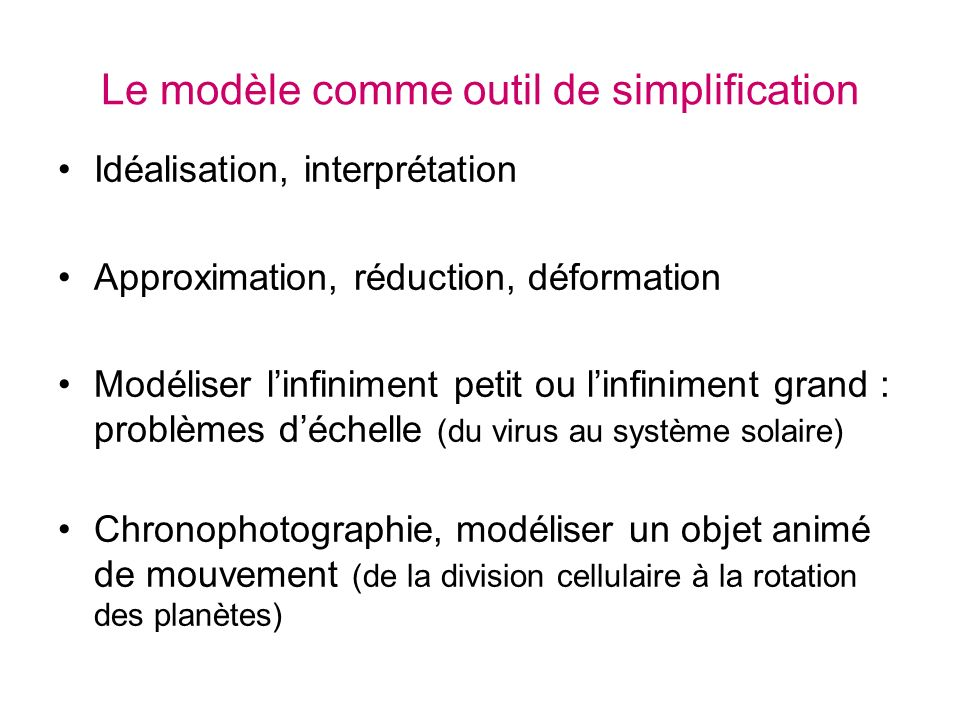 Le modèle comme outil de simplification Idéalisation, interprétation Approximation, réduction, déformation Modéliser linfiniment petit ou linfiniment