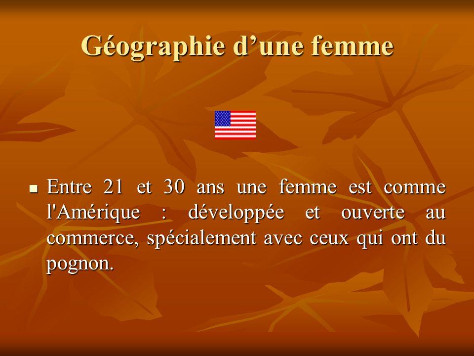 Géographie dune femme Entre 21 et 30 ans une femme est comme l'Amérique : développée et ouverte au commerce, spécialement avec ceux qui ont du pognon.