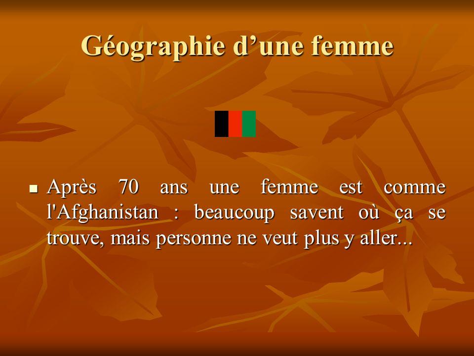 Géographie dune femme Après 70 ans une femme est comme l'Afghanistan : beaucoup savent où ça se trouve, mais personne ne veut plus y aller... Après 70