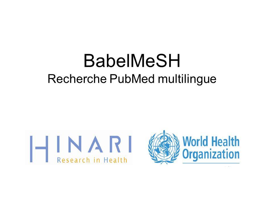 Nous avons entré les termes Anglais Diabetes complicationg pregnancy dans la boîte de recherche et coché les cases French et English.