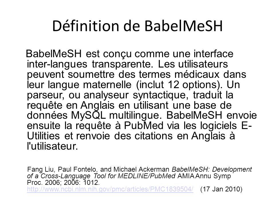 Après avoir coché les cases Français et Anglais, nous tentons encore une fois d entrer grossesse et diabete dans la version française de BabelMeSH.