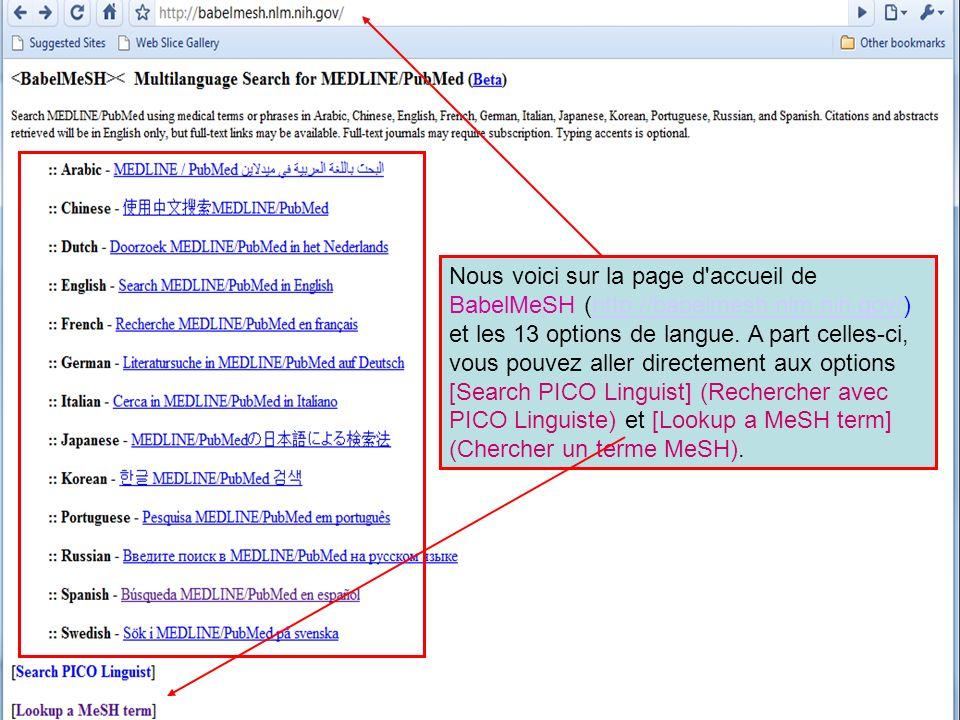 Nous avons ouvert la page MeSH Terms Lookup (Recherche de termes MeSH), cliqué sur Français (French) dans le menu déroulant, tapé le terme grossesse (en Français) et cliqué le bouton Translate (Traduire).