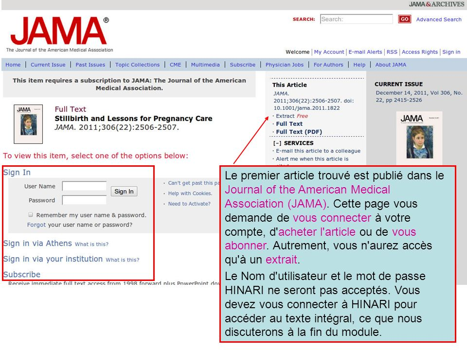 Le premier article trouvé est publié dans le Journal of the American Medical Association (JAMA).
