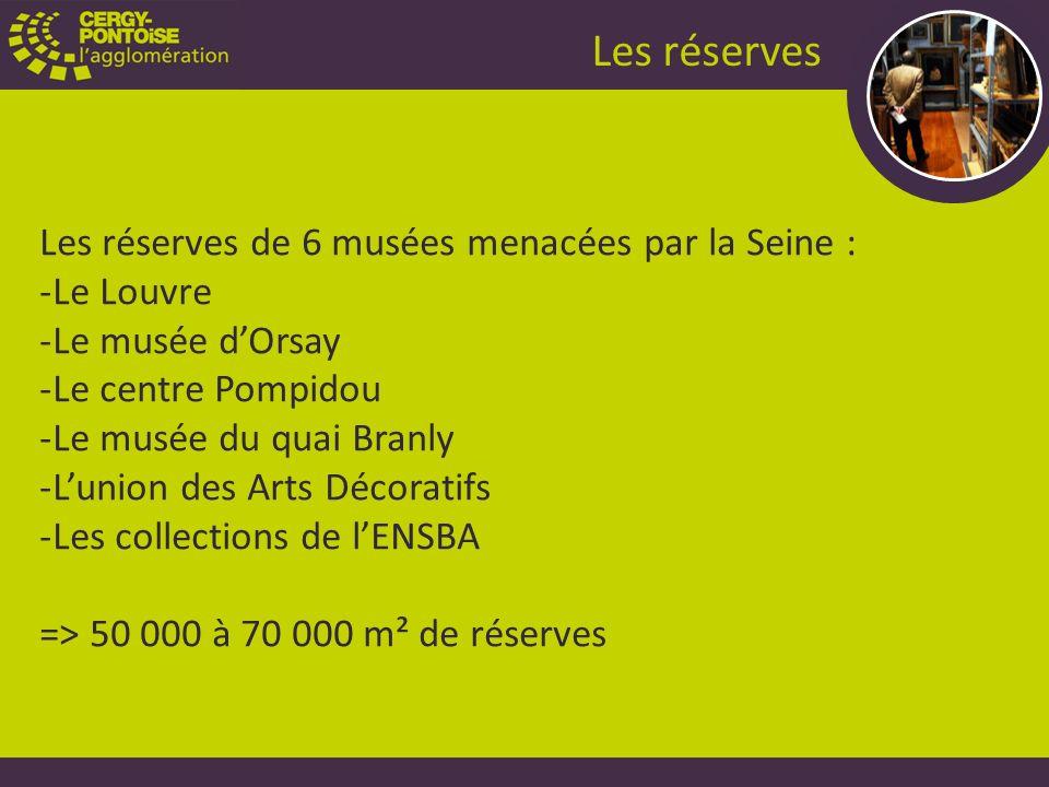 Les réserves de 6 musées menacées par la Seine : -Le Louvre -Le musée dOrsay -Le centre Pompidou -Le musée du quai Branly -Lunion des Arts Décoratifs -Les collections de lENSBA => 50 000 à 70 000 m² de réserves Les réserves