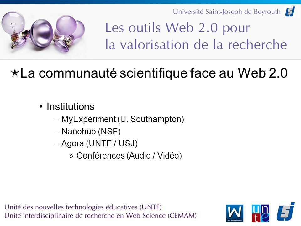 La communauté scientifique face au Web 2.0 Institutions –MyExperiment (U.