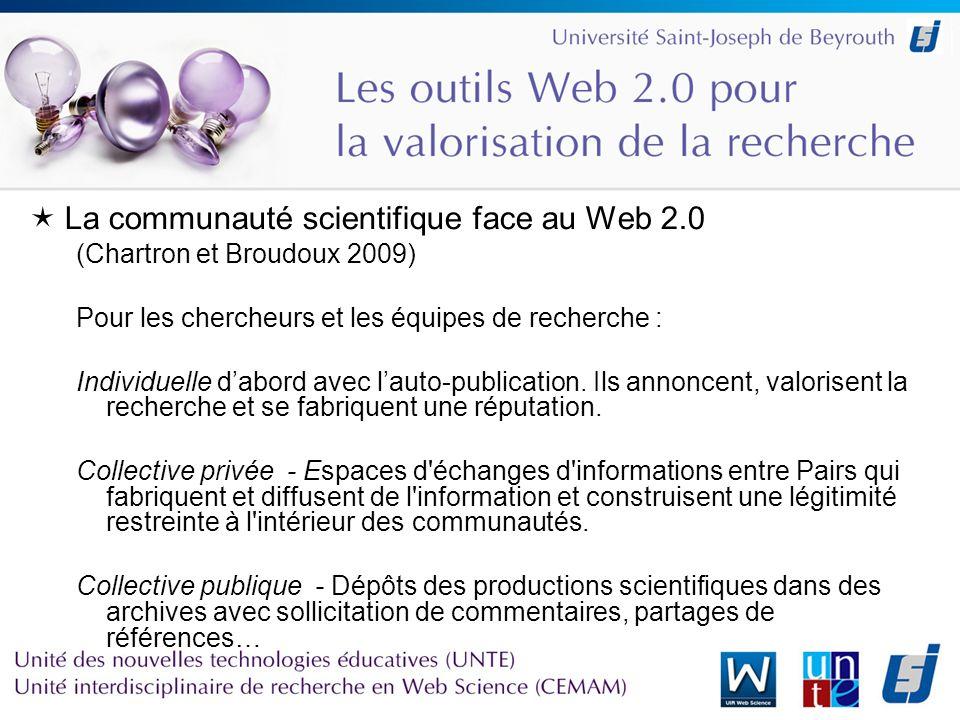 La communauté scientifique face au Web 2.0 (Chartron et Broudoux 2009) Pour les chercheurs et les équipes de recherche : Individuelle dabord avec lauto-publication.