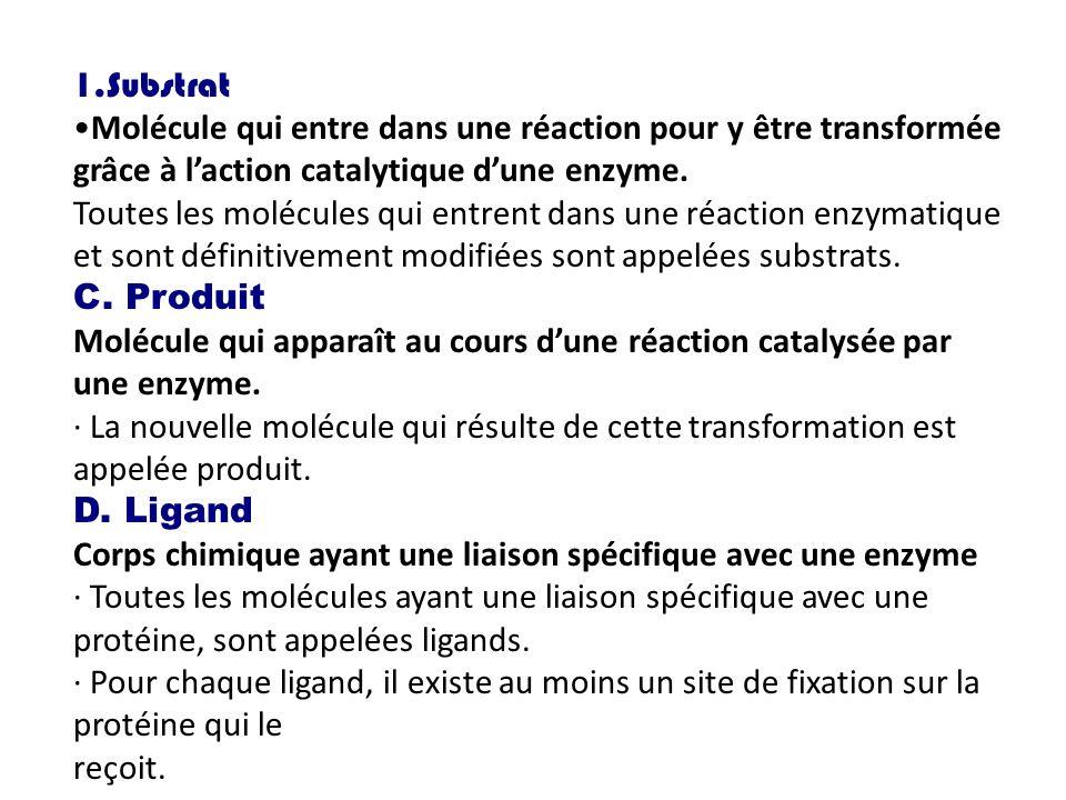 1.Substrat Molécule qui entre dans une réaction pour y être transformée grâce à laction catalytique dune enzyme. Toutes les molécules qui entrent dans