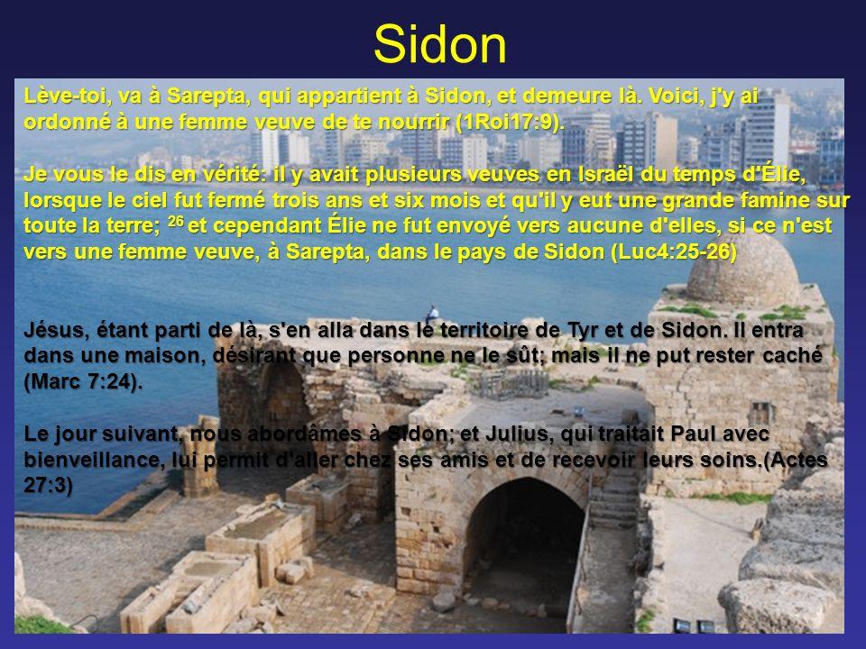 Sidon Lève-toi, va à Sarepta, qui appartient à Sidon, et demeure là.