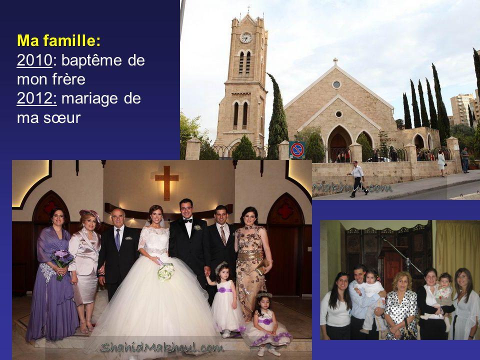 Ma famille: 2010: baptême de mon frère 2012: mariage de ma sœur