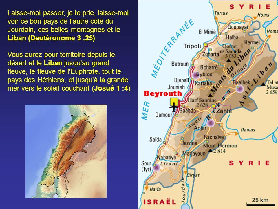 Laisse-moi passer, je te prie, laisse-moi voir ce bon pays de l autre côté du Jourdain, ces belles montagnes et le Liban (Deutéronome 3 :25) Vous aurez pour territoire depuis le désert et le Liban jusqu au grand fleuve, le fleuve de l Euphrate, tout le pays des Héthiens, et jusqu à la grande mer vers le soleil couchant (Josué 1 :4)