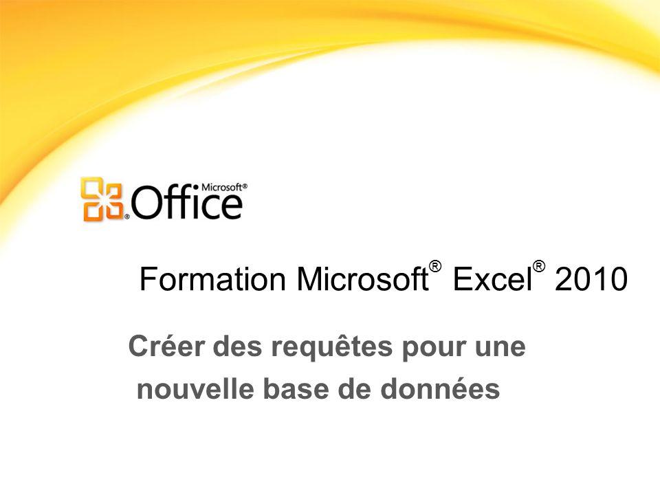 Formation Microsoft ® Excel ® 2010 Créer des requêtes pour une nouvelle base de données