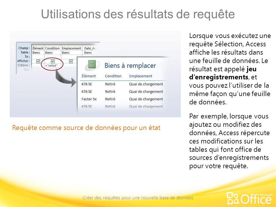 Utilisations des résultats de requête Créer des requêtes pour une nouvelle base de données Requête comme source de données pour un état Lorsque vous e