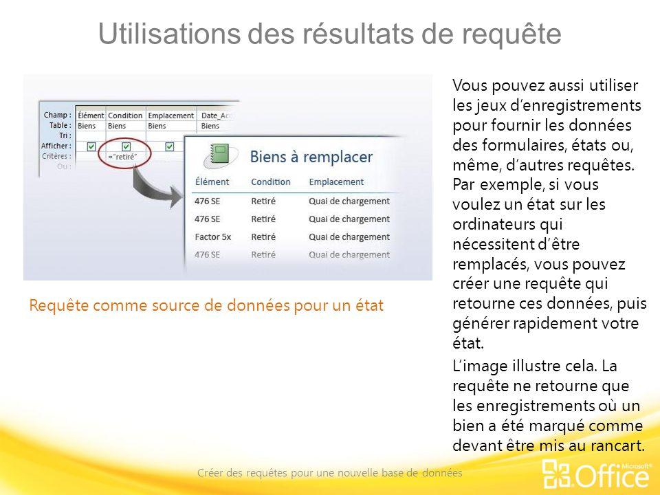 Utilisations des résultats de requête Créer des requêtes pour une nouvelle base de données Requête comme source de données pour un état Vous pouvez au
