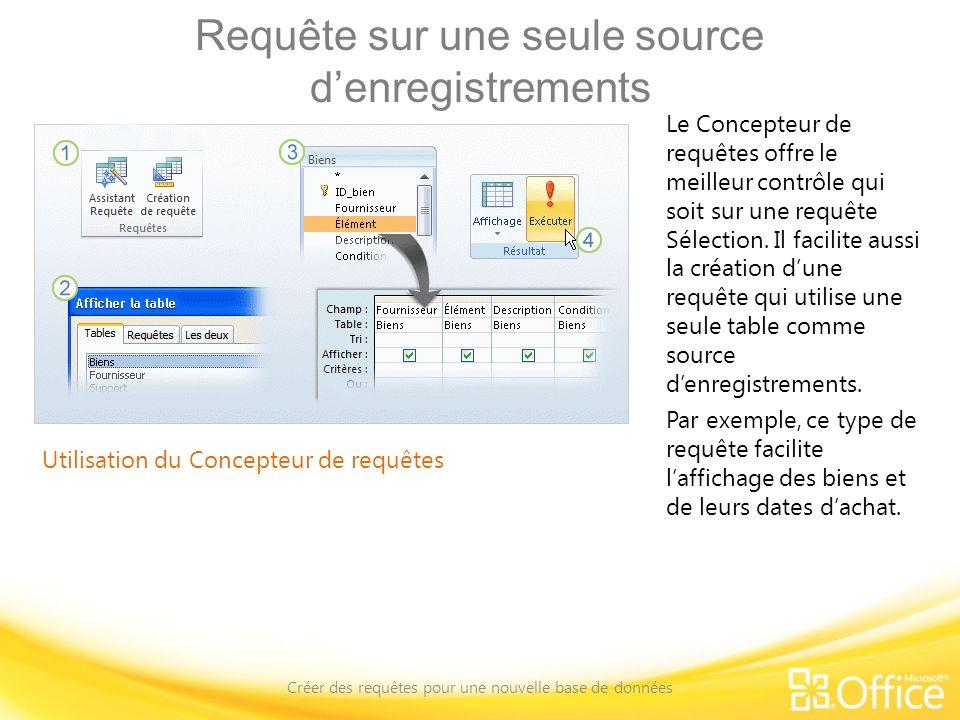 Requête sur une seule source denregistrements Créer des requêtes pour une nouvelle base de données Utilisation du Concepteur de requêtes Le Concepteur