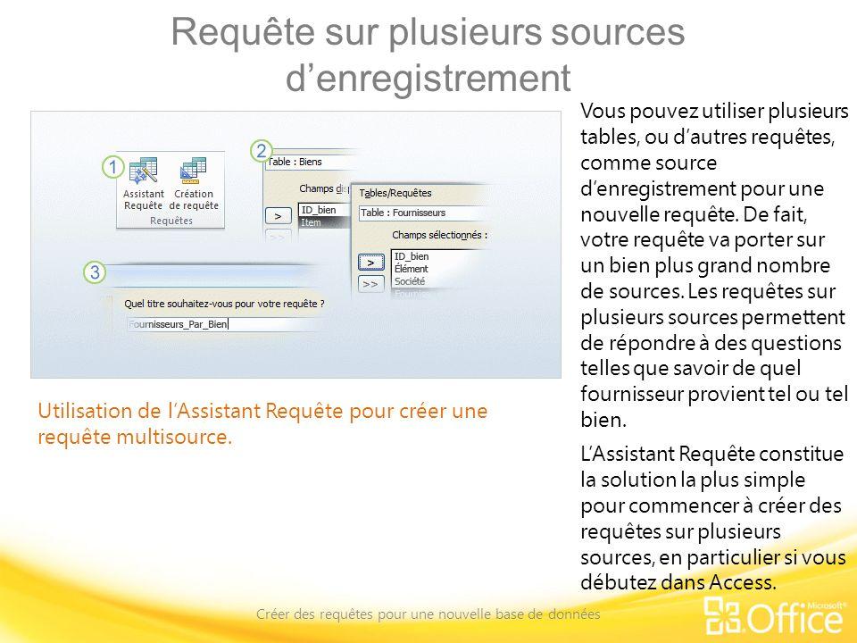 Requête sur plusieurs sources denregistrement Créer des requêtes pour une nouvelle base de données Utilisation de lAssistant Requête pour créer une re