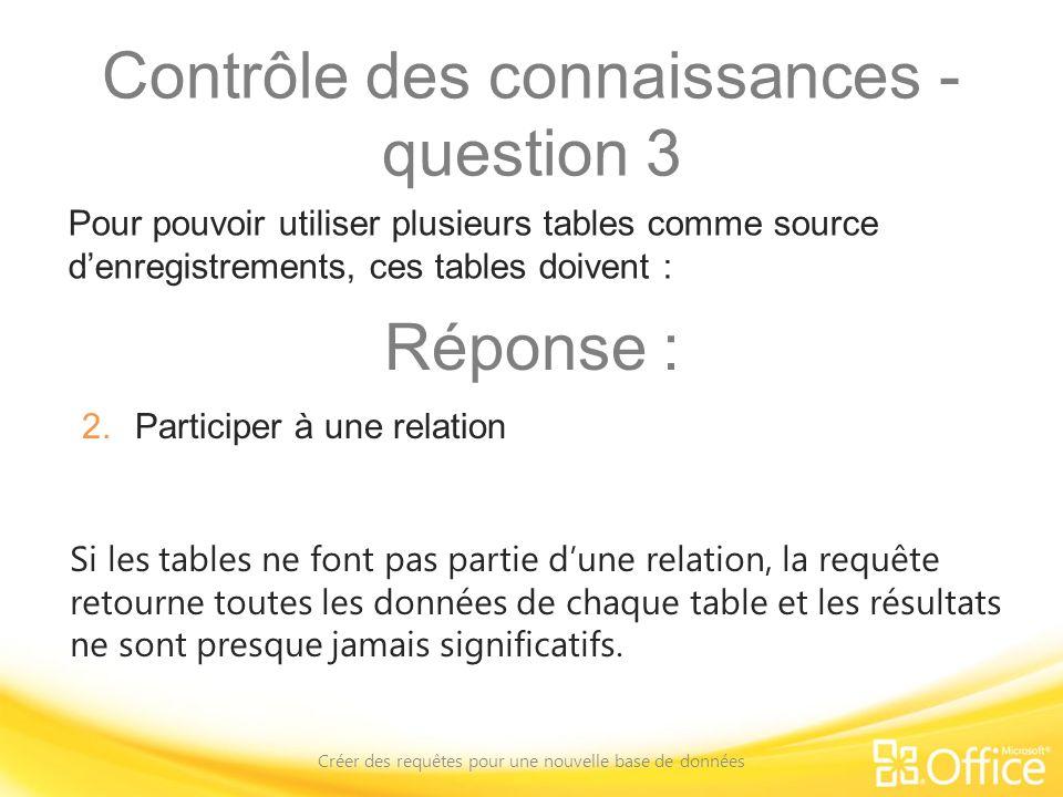 Contrôle des connaissances - question 3 Créer des requêtes pour une nouvelle base de données Si les tables ne font pas partie dune relation, la requêt