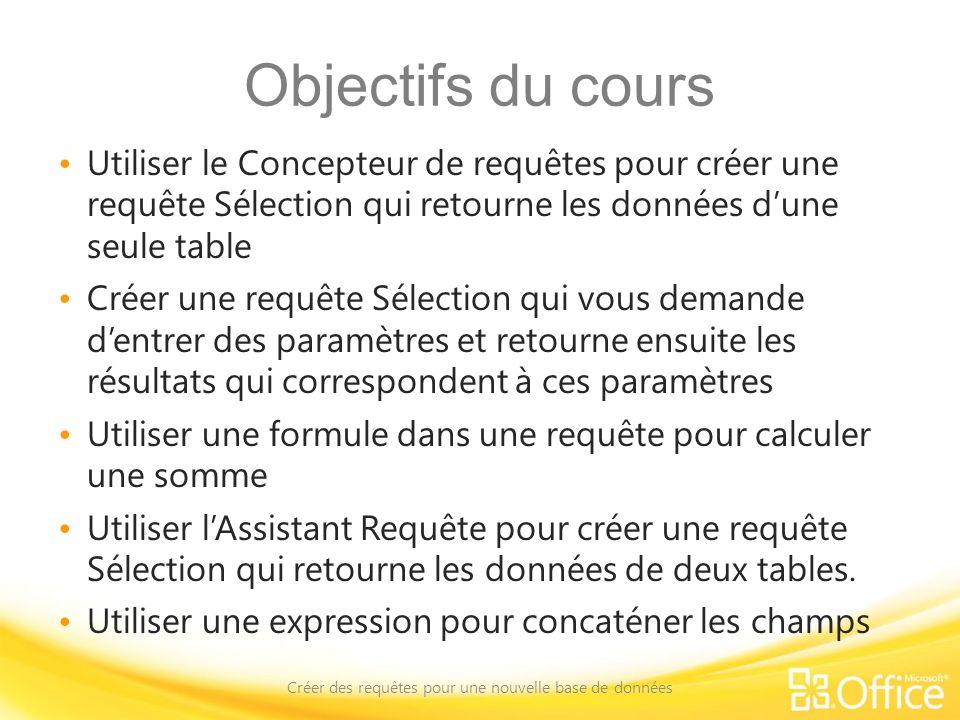 Objectifs du cours Utiliser le Concepteur de requêtes pour créer une requête Sélection qui retourne les données dune seule table Créer une requête Sél