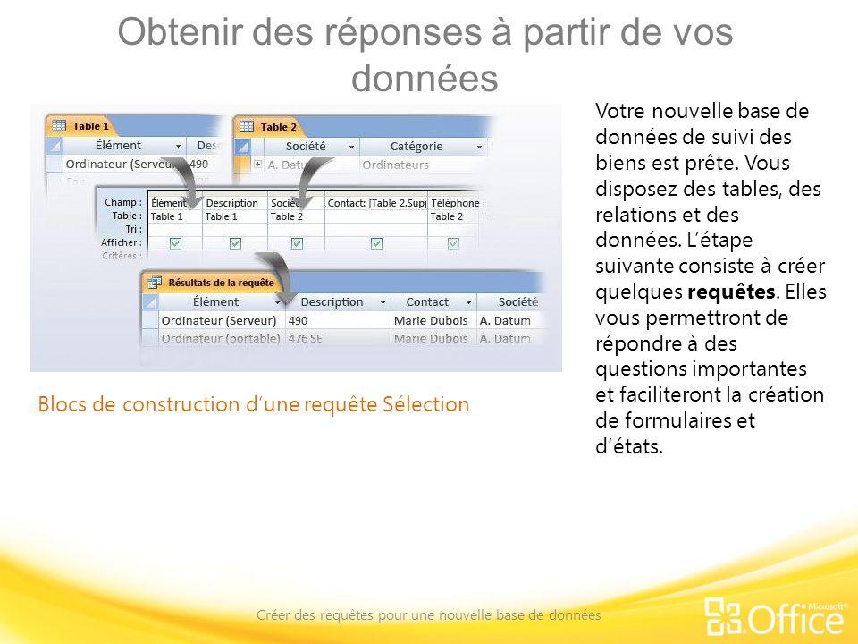 Obtenir des réponses à partir de vos données Créer des requêtes pour une nouvelle base de données Blocs de construction dune requête Sélection Plus précisément, vous allez créer des requêtes de sélection.