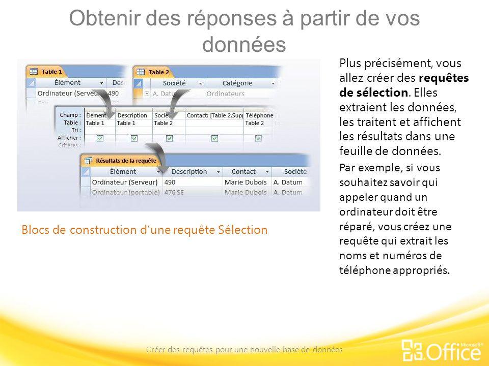 Obtenir des réponses à partir de vos données Créer des requêtes pour une nouvelle base de données Blocs de construction dune requête Sélection Plus pr