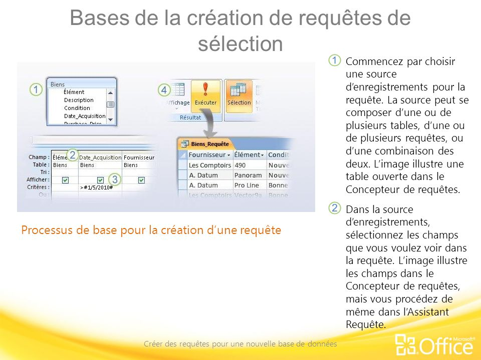 Bases de la création de requêtes de sélection Créer des requêtes pour une nouvelle base de données Processus de base pour la création dune requête Ajoutez un critère de tri, filtre ou autre critère de sélection à vos requêtes.
