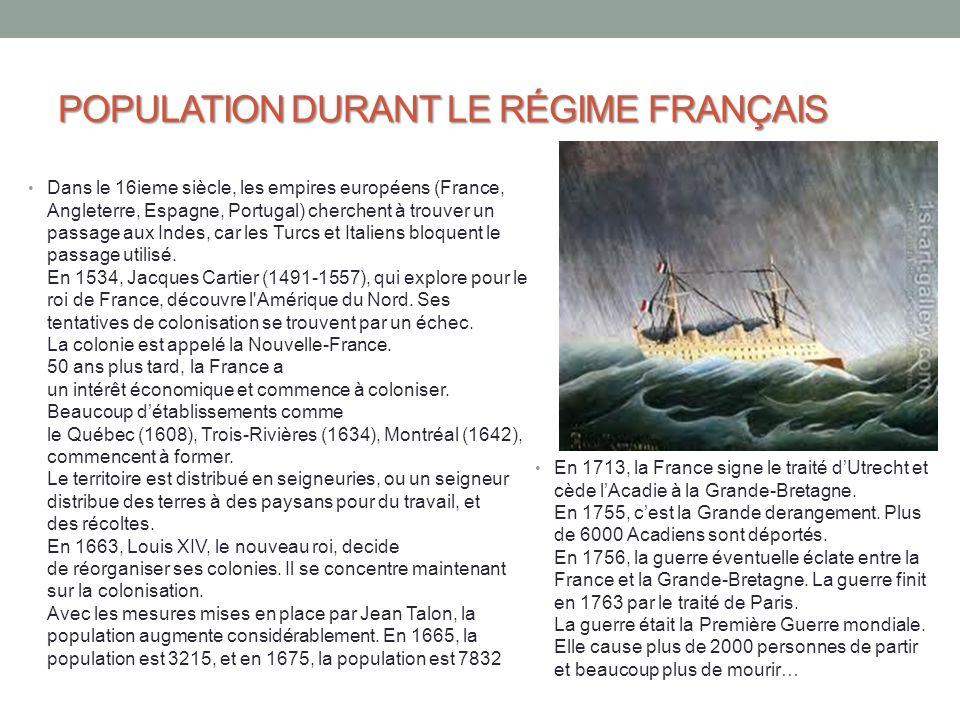POPULATION DURANT LE RÉGIME FRANÇAIS Dans le 16ieme siècle, les empires européens (France, Angleterre, Espagne, Portugal) cherchent à trouver un passa