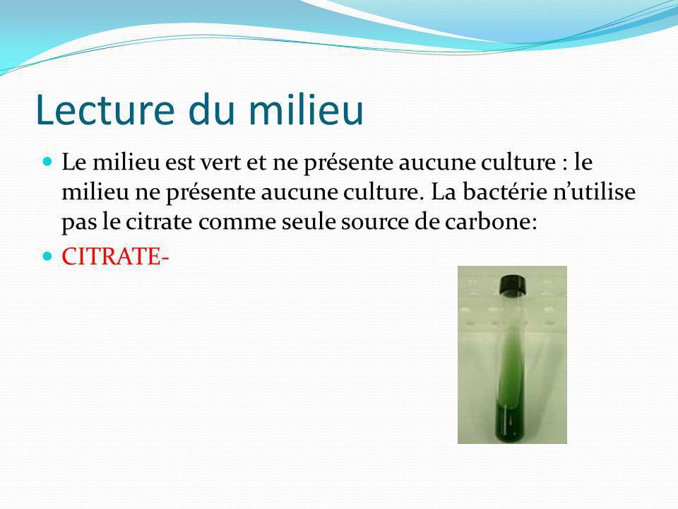 Lecture du milieu Le milieu est vert et ne présente aucune culture : le milieu ne présente aucune culture. La bactérie nutilise pas le citrate comme s