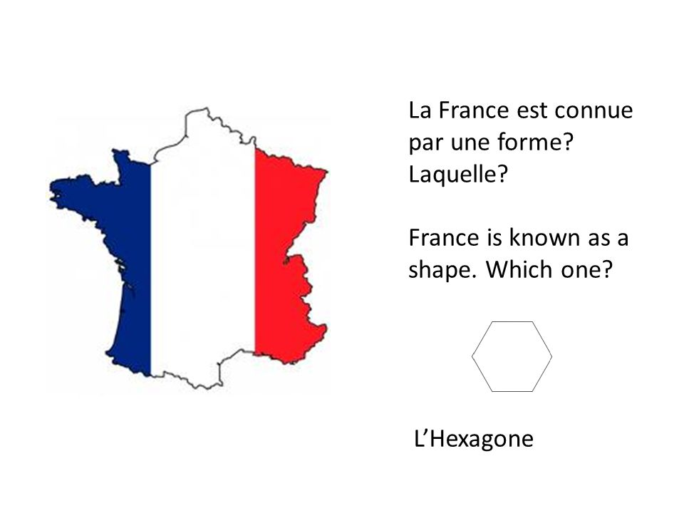 La France est connue par une forme? Laquelle? France is known as a shape. Which one? LHexagone