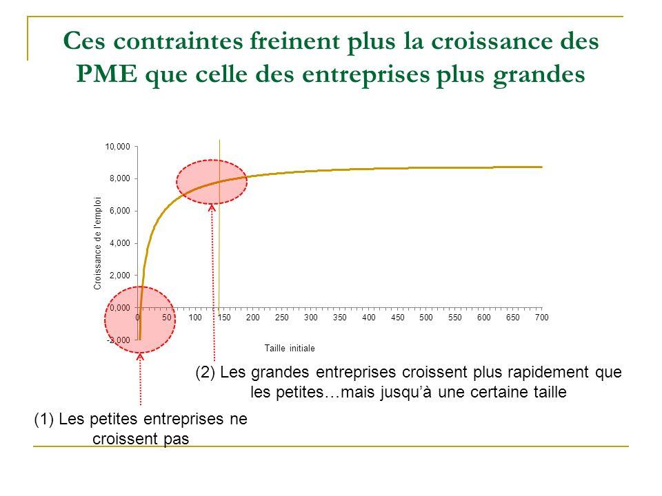 Ces contraintes freinent plus la croissance des PME que celle des entreprises plus grandes (1) Les petites entreprises ne croissent pas (2) Les grandes entreprises croissent plus rapidement que les petites…mais jusquà une certaine taille