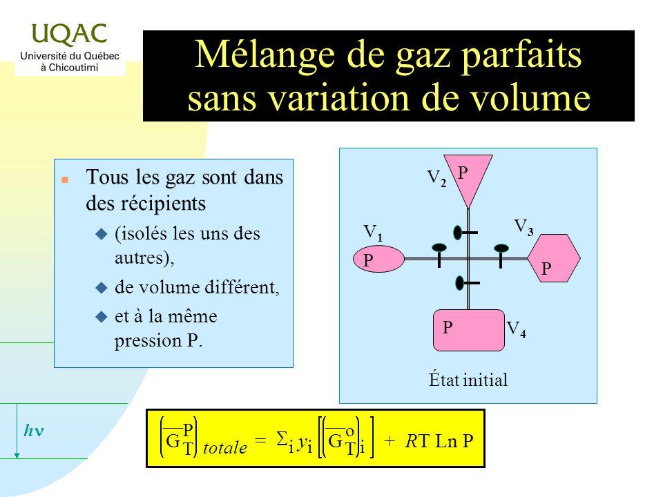 h n Tous les gaz sont dans des récipients u (isolés les uns des autres), u de volume différent, u et à la même pression P.