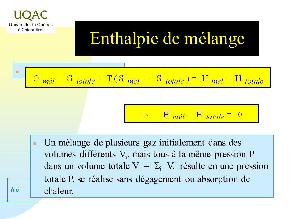 h Enthalpie de mélange n De la même manière : Un mélange de plusieurs gaz initialement dans des volumes différents V i, mais tous à la même pression P dans un volume totale V = i V i résulte en une pression totale P, se réalise sans dégagement ou absorption de chaleur.