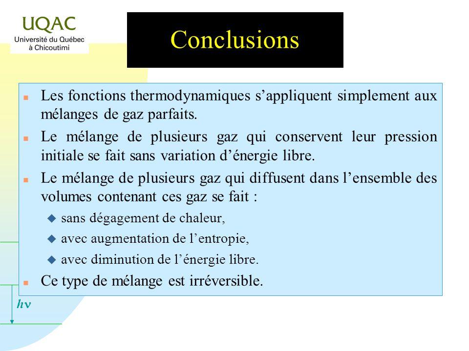 h Conclusions n Les fonctions thermodynamiques sappliquent simplement aux mélanges de gaz parfaits.