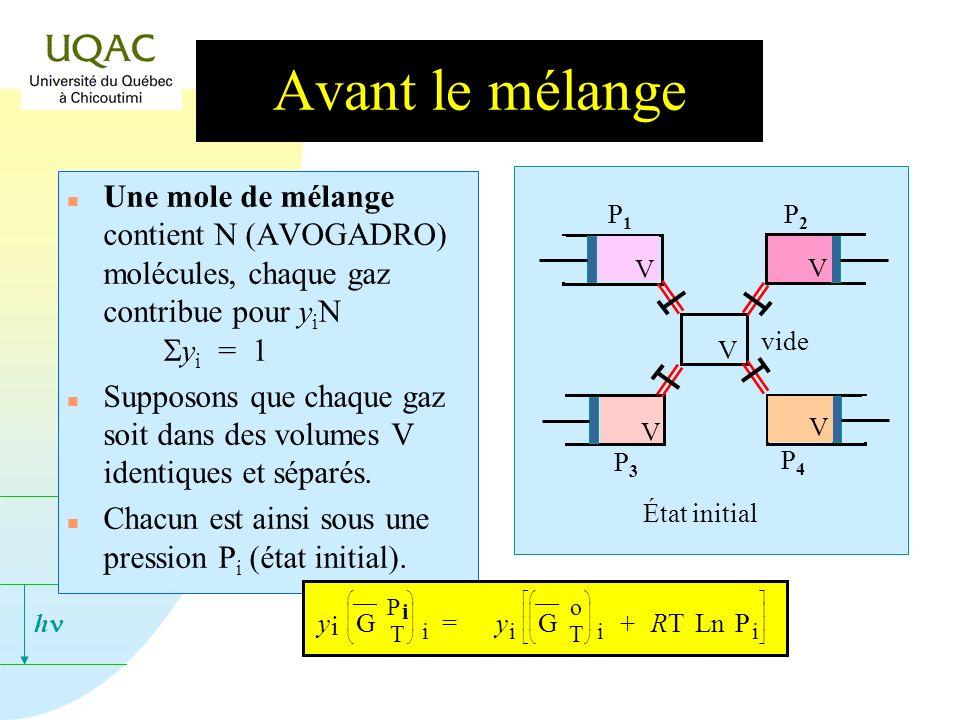 h Avant le mélange Une mole de mélange contient N (AVOGADRO) molécules, chaque gaz contribue pour y i N y i = 1 n Supposons que chaque gaz soit dans des volumes V identiques et séparés.