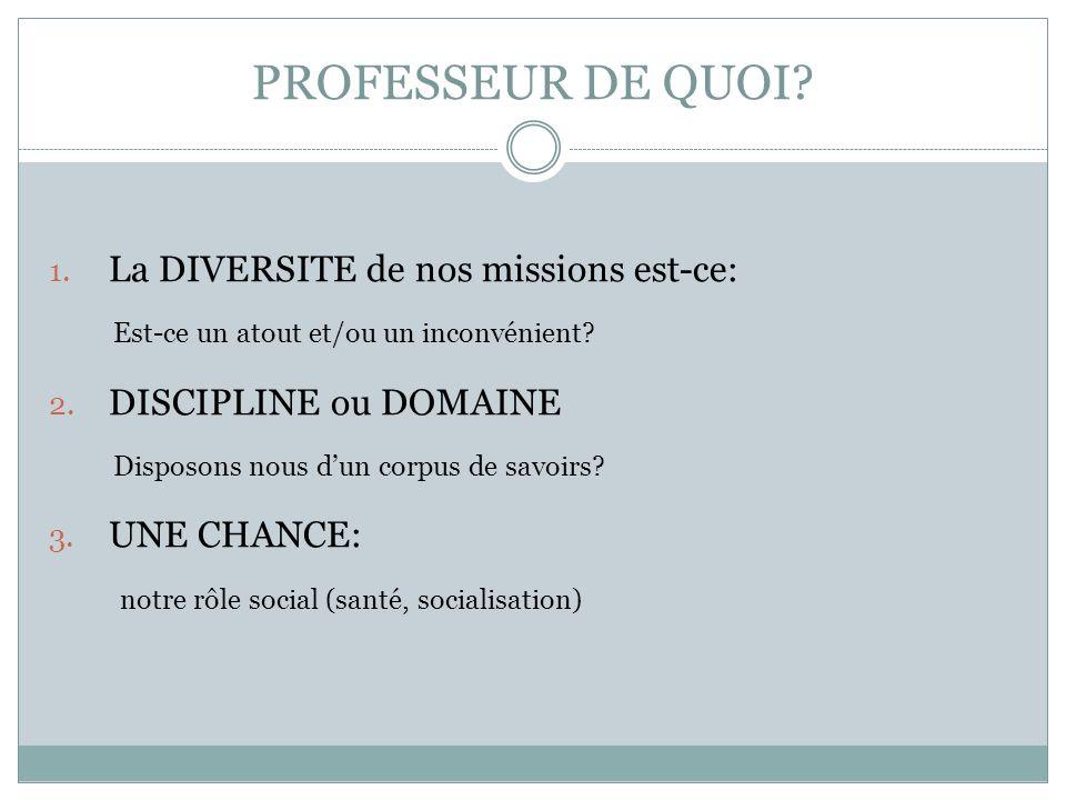 PROFESSEUR DE QUOI. 1. La DIVERSITE de nos missions est-ce: Est-ce un atout et/ou un inconvénient.
