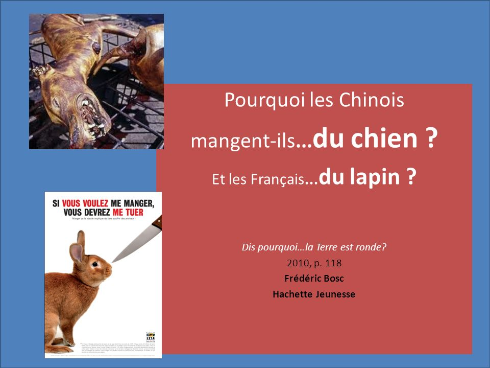Pourquoi les Chinois mangent-ils... du chien ? Et les Français... du lapin ? Dis pourquoi…la Terre est ronde? 2010, p. 118 Frédéric Bosc Hachette Jeun