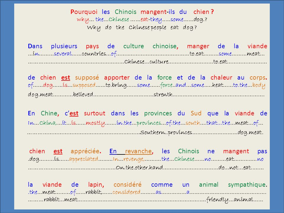 Pourquoi les Chinois mangent-ils du chien . why… the…Chinese ……eat-they..…some……dog..