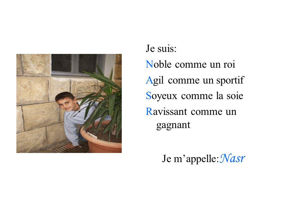 Je suis: Noble comme un roi Agil comme un sportif Soyeux comme la soie Ravissant comme un gagnant Je mappelle: Nasr