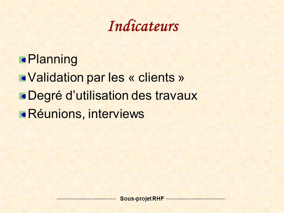 Sous-projet RHF Indicateurs Planning Validation par les « clients » Degré dutilisation des travaux Réunions, interviews