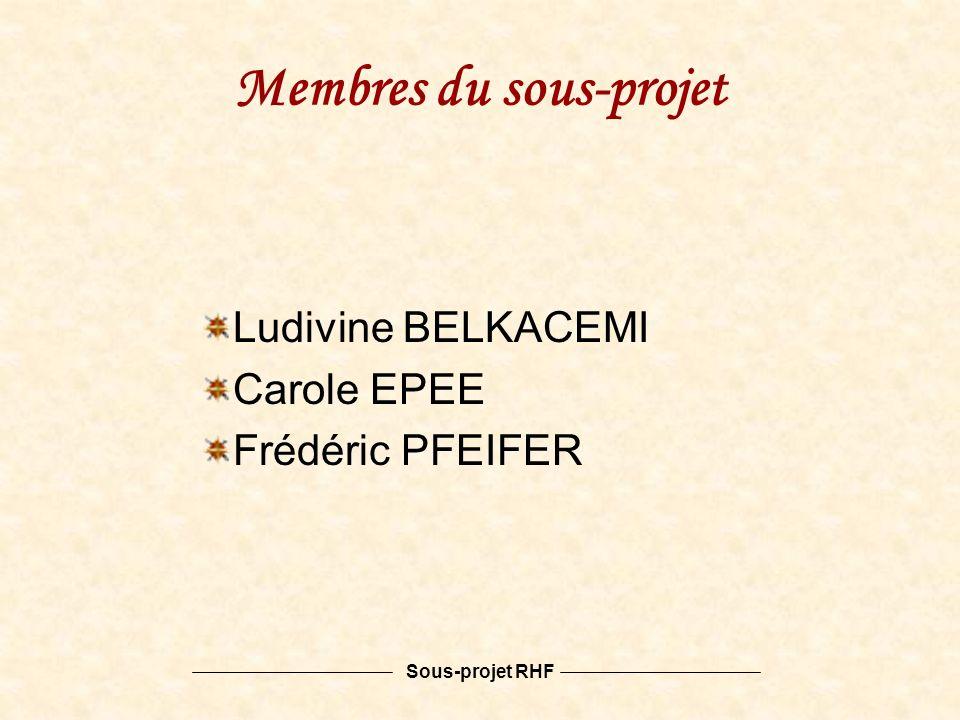 Sous-projet RHF Membres du sous-projet Ludivine BELKACEMI Carole EPEE Frédéric PFEIFER