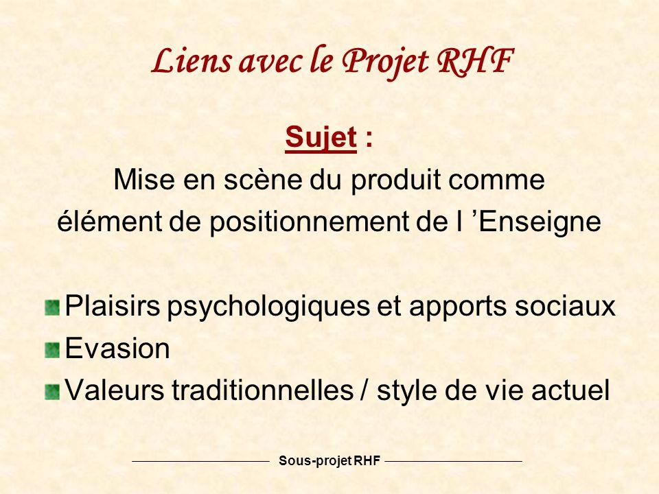 Sous-projet RHF Liens avec le Projet RHF Sujet : Mise en scène du produit comme élément de positionnement de l Enseigne Plaisirs psychologiques et apports sociaux Evasion Valeurs traditionnelles / style de vie actuel