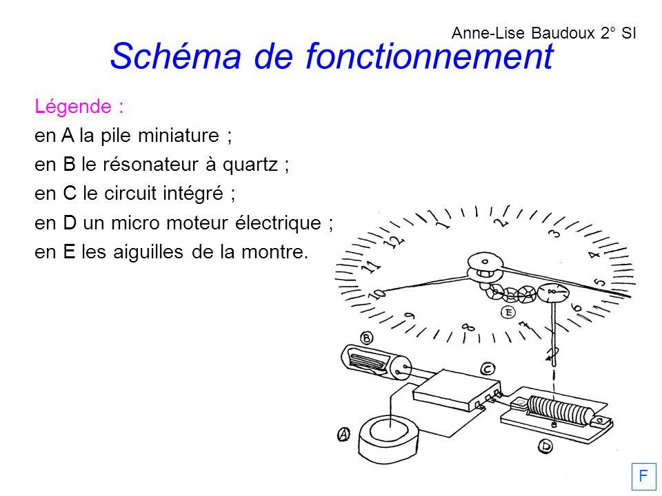 Schéma de fonctionnement Anne-Lise Baudoux 2° SI F Légende : en A la pile miniature ; en B le résonateur à quartz ; en C le circuit intégré ; en D un