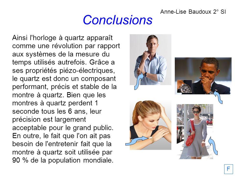 Conclusions Anne-Lise Baudoux 2° SI F Ainsi l'horloge à quartz apparaît comme une révolution par rapport aux systèmes de la mesure du temps utilisés a